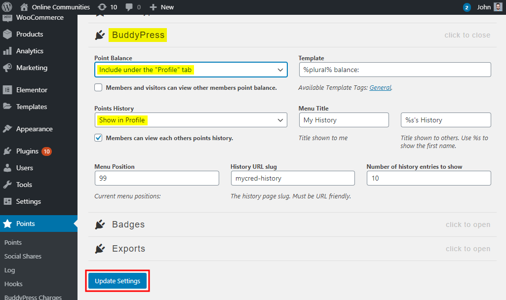 myCRED - BuddyPress – Displaying points balance nad points history on a user's profile