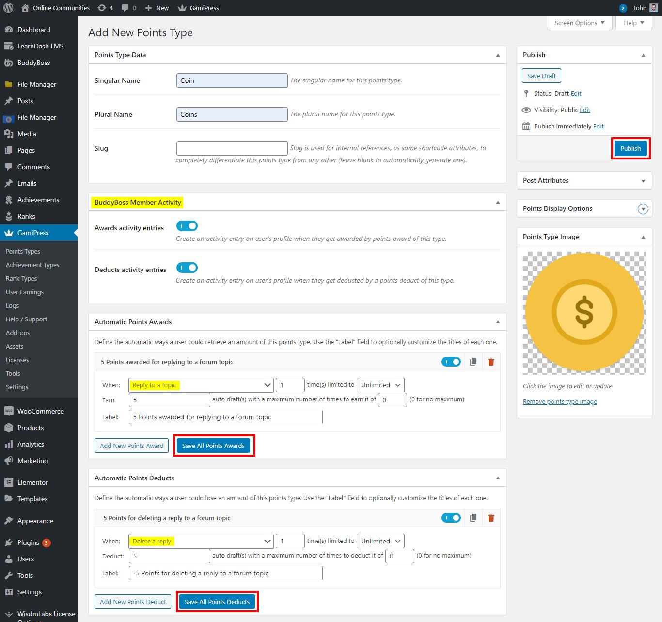 GamiPress + BuddyBoss Integration - Creating a new point type for BuddyBoss events