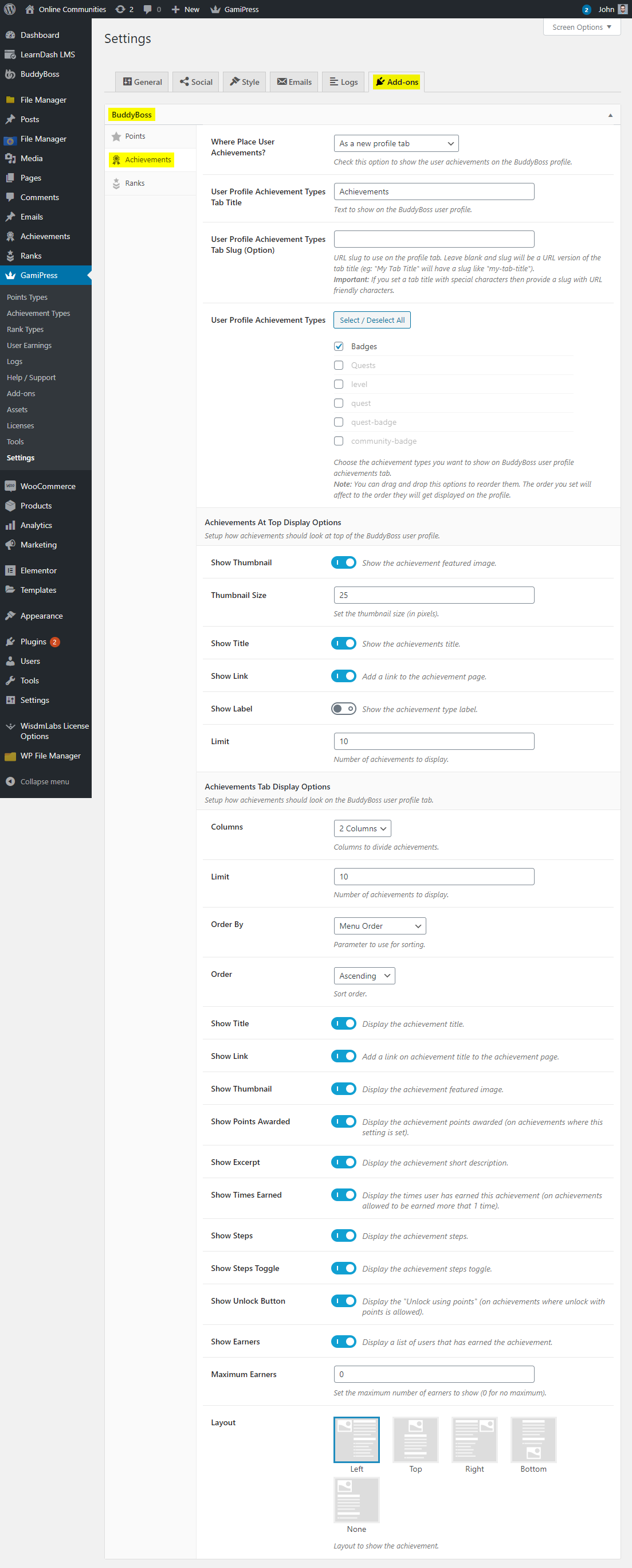 GamiPress + BuddyBoss Integration - Display Achievements on a user's profile