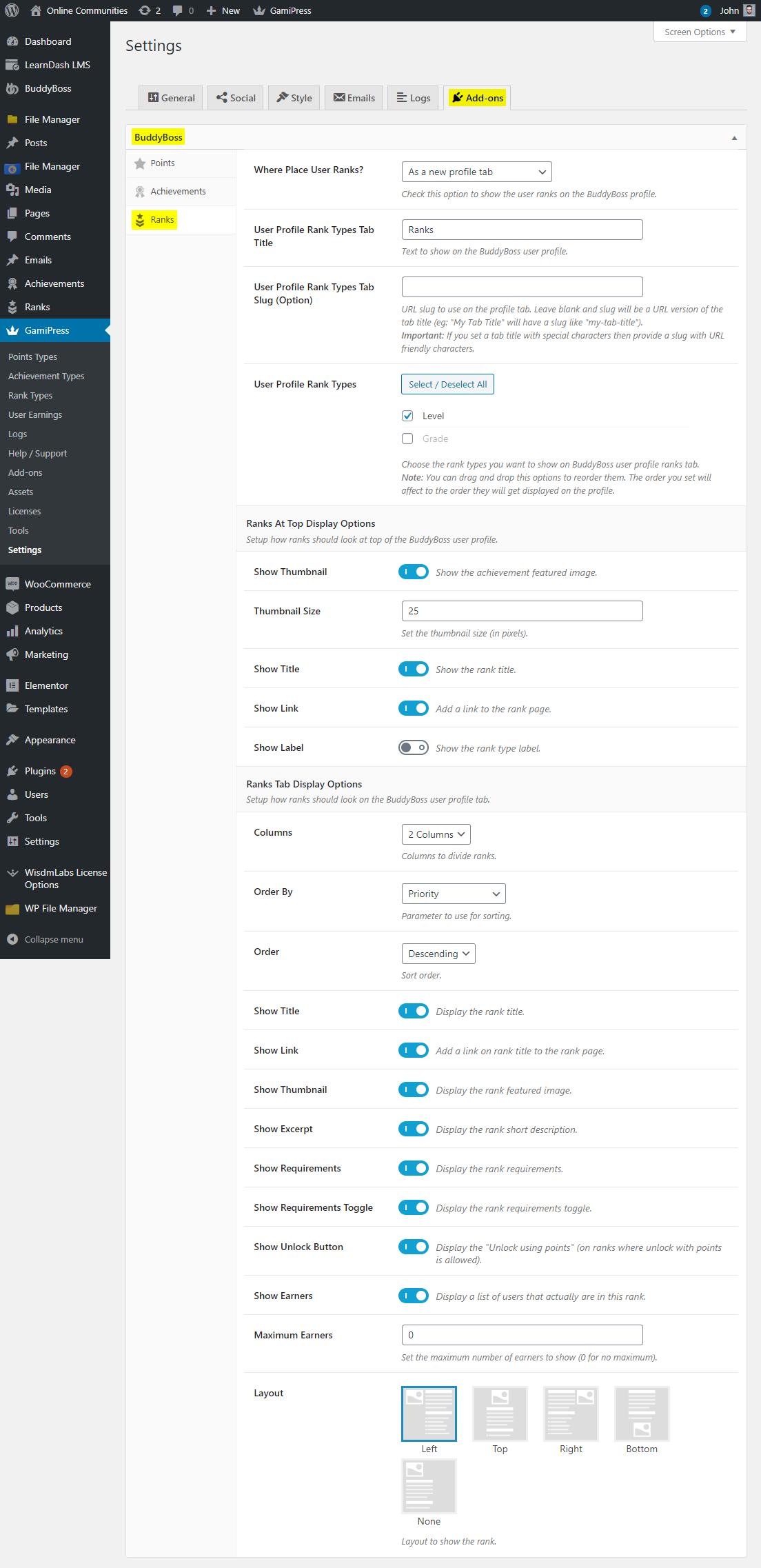 GamiPress + BuddyBoss Integration - Display Ranks on a user's profile