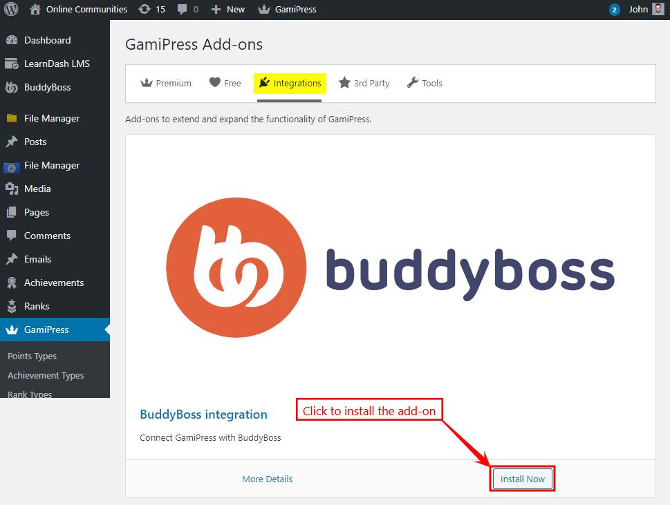 GamiPress + BuddyBoss Integration - Installing the add-on