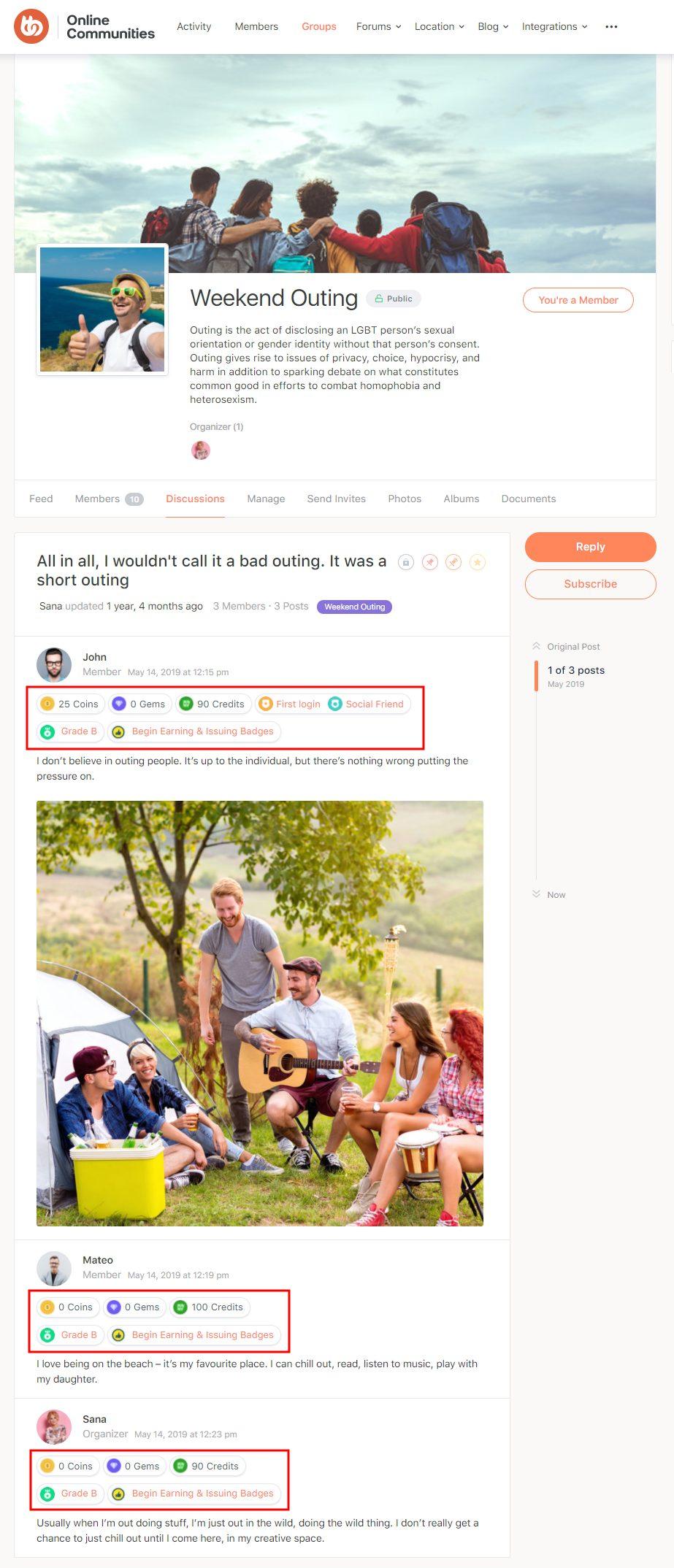 GamiPress + BuddyBoss Integration - Points, achievements, ranks displayed on the BuddyBoss Forums on a user's profile